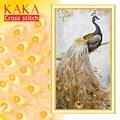 Kit de punto de cruz kka juegos de bordado de costura con patrón impreso, lienzo de 11 CT, decoración del hogar para casa de jardín, pavo Real