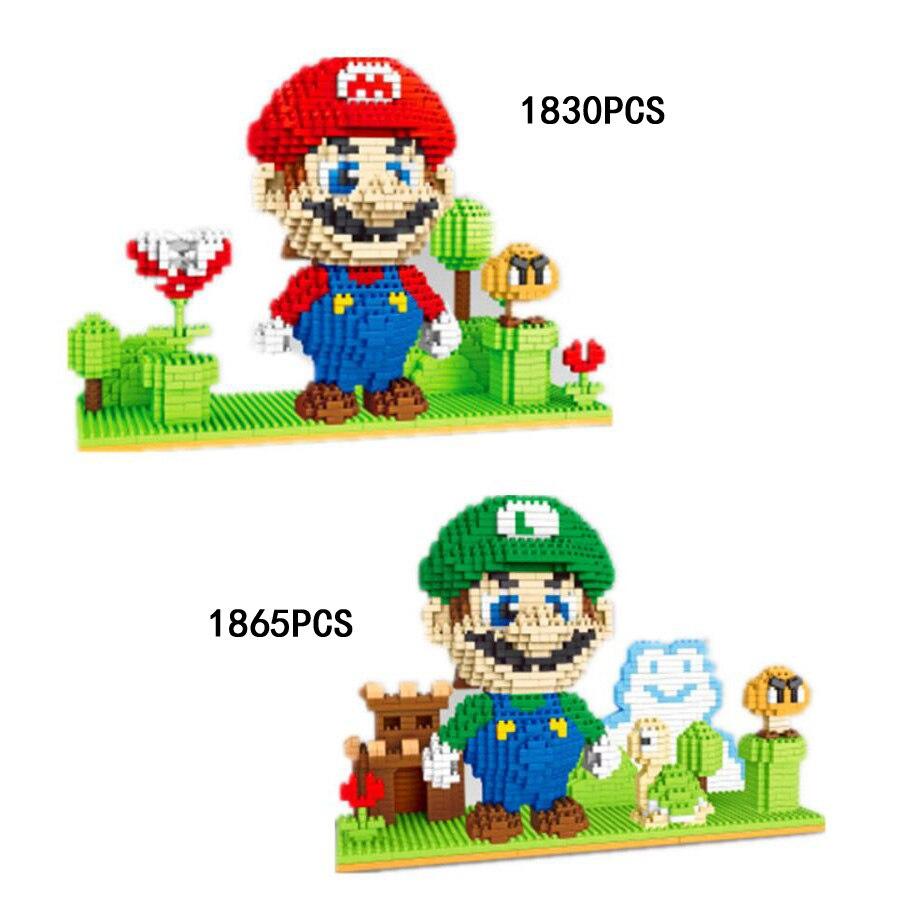 Classic game scenes image micro diamond building block super mario bros nanoblock assemble bricks toys colleciton for kids gifts