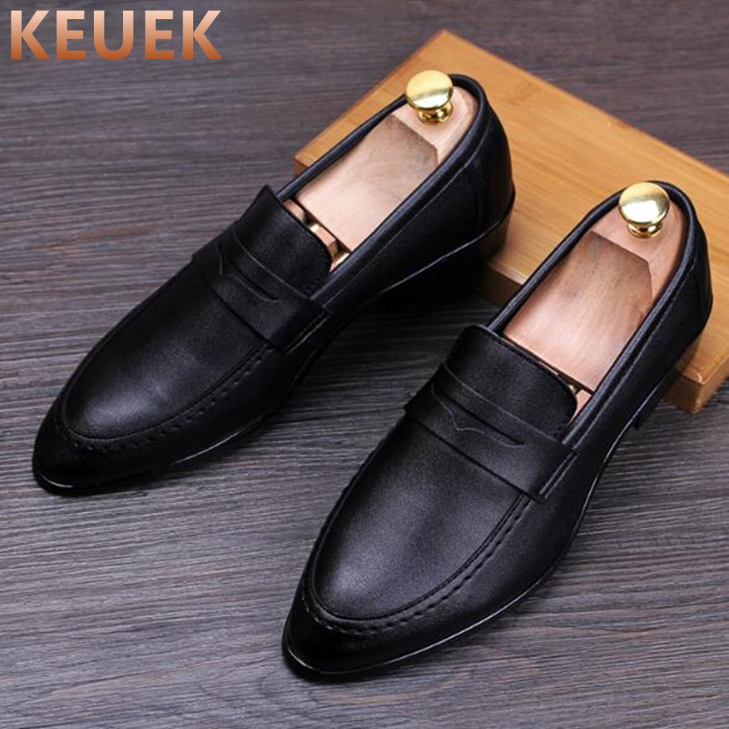 Luxury brand Men Casual Leather shoes Slip On Breathable Flats chaussure homme sapato masculino Male Loafers Wedding shoes 03 luxury fashion men crystal flats metal pointed toe huarache slip on wedding shoes man 36 46 chaussure homme sapato masculino