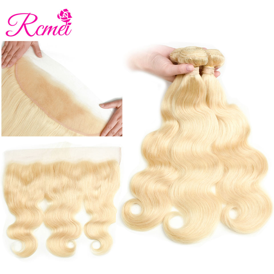 613 Blonde Brazilian Body Wave Bundles With Frontal Clousre 4 PCS Deal 8-30 Inch Long Length Blonde Hair Weaving Remy Hair Rcmei ...