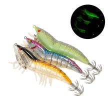 3/5pcs Wobblers Fishing Shrimp Lure Prawn Hard Bait with Squid Jigs Hook Noctilucen Artificial  Lure for Winter BassPesca