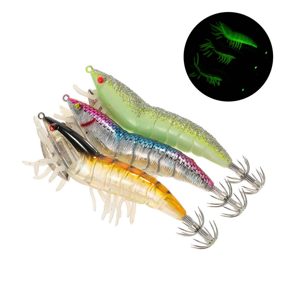 5Pcs Worm Shrimp Simulation Fishing Lures Tackle Baits Minnow Lobster Red