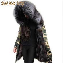 Real Fox Fur Lined Detachable Women Long Jacket With Large Natural Raccoon Fur Collar Hooded Parka Winter Outwear