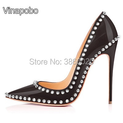 Sexy Spinks Women Pumps Ladies Wedding Shoes Woman Thin High Heels Black  Patent Leather Dress 12CM 67b1f65baf9e