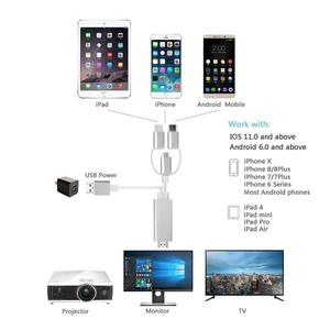 Image 3 - 3 in 1 Lighting/Type C/Micro USB To HDMI Cable Mirroring Cellphone Screen To TV/Projector/Monitor Adapter 1080P Resolution