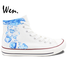 Wen Original Shoes Design Custom Hand Painted Sneakers Ice Cube White High Top Men Women's Canvas Sneakers