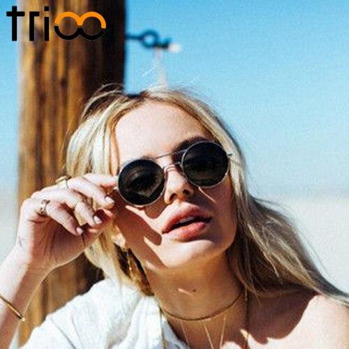 TRIOO Violet Miroir Dames lunettes de Soleil Petit Rond Marque Lunettes de Soleil  Femmes Tendance Rétro Style Shades Couleur UV400 Lunette dans Lunettes de  ... 5b205688a26a