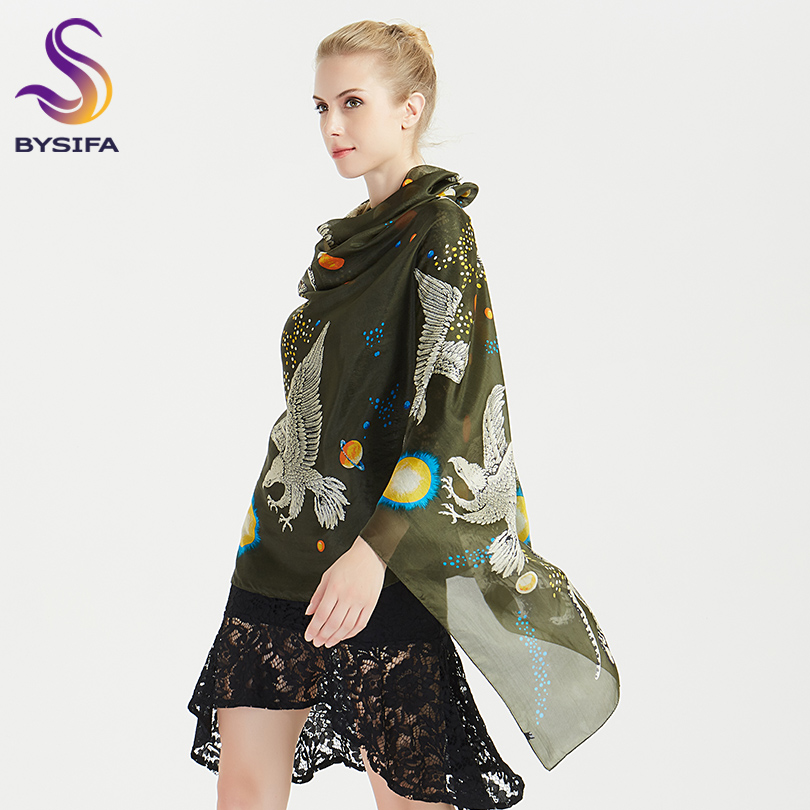 [BYSIFA] Army Green Women 100% Silk   Scarf   Shawl New Animal Design Brand Long   Scarves     Wraps   Winter Neck   Scarves   Foulard 180*110cm