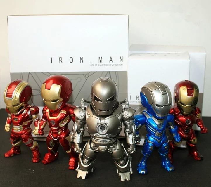 HKXZM Movie Figure 5PCS/SET Iron Man Light & Action Function Monger Iron Patriot Mark PVC Figures Model Collectibles Toy Gift