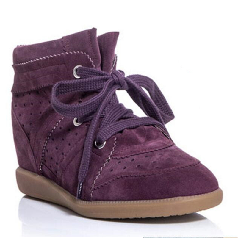 ФОТО New 18 Colors Bobby Shoes Women Ankle Boots Genuine Suede Leather Women Casual Shoes Isabel Platform Boots Women Wedges Shoes