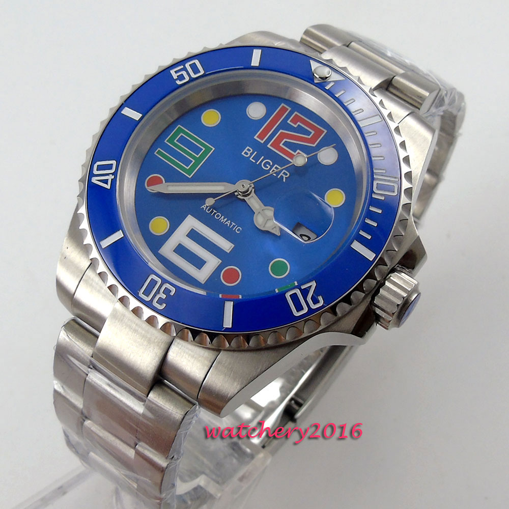 40mm Bliger Blue dial ceramic bezel Sapphire Crystal Luminous Hand Top Brand Luxury date window Automatic Mechanical Men's Watch коньки onlitop 223f 37 40 blue 806164