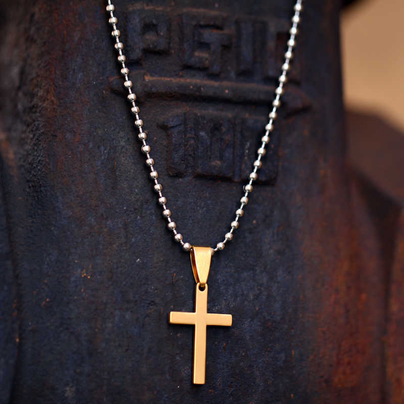Mcllroy Stainless Steel necklace Gold Silver Cross Chain Long Statement Necklaces Pendants For Men Women Fashion Jewelry 2019