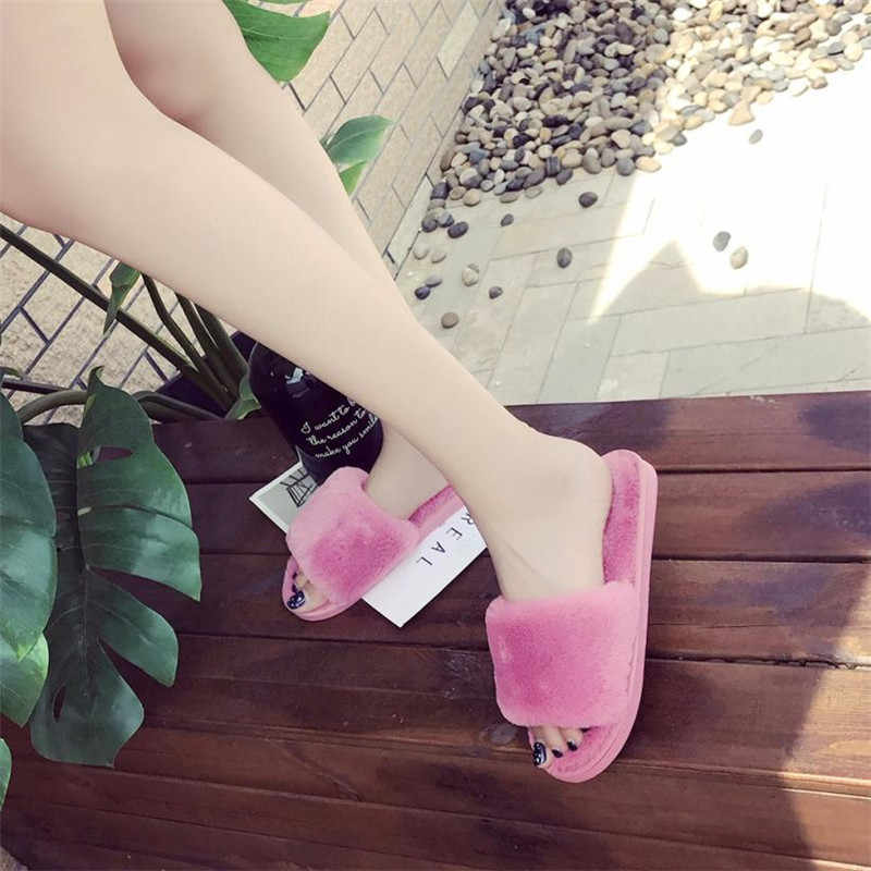 2019 zapatillas de invierno para mujer con piel sintética a la moda Zapatos de abrigo para mujer deslizantes planos femeninos negro Rosa Plus tamaño 7