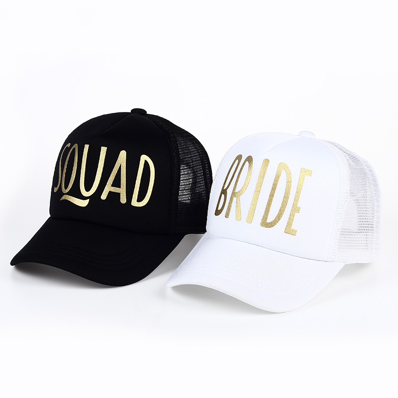 BRIDE SQUAD Party Hat Mesh Women Wedding Baseball Cap Brand Bachelor Club Group Snapback Caps Summer Beach Gold Print Casquette ming dynasty emperor s hat imitate earthed emperor wanli gold mesh hat groom wedding hair tiaras for men 3 colors