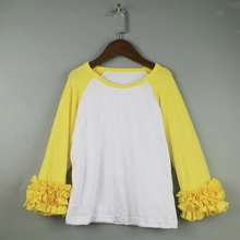 toddle raglan Easter lengthy sleeve t-shirts ruffle icing tees prime for women kids yellow raglan yellow lengthy sleeve shirts