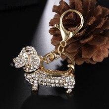 crystal dog keychain bag cute charm pendant key ring women rhinestone dog key holder trinket jewelry juany
