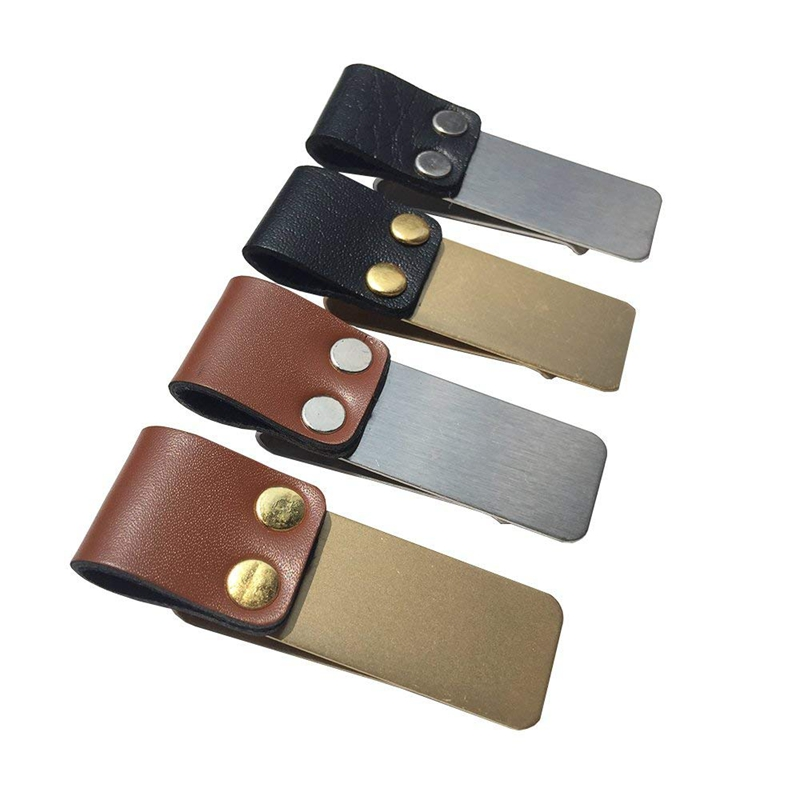 HOT-Pen Loop Traveler Notebook Leather Pen Holder With Stainless Steel Clip 4 Pack