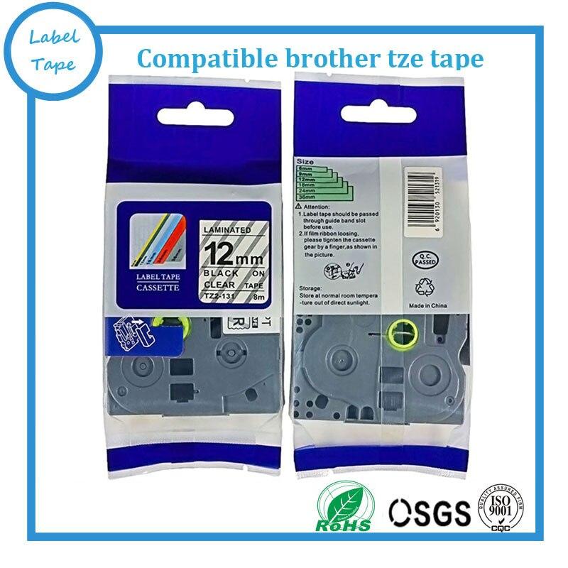 12mm*8m Tze 131 Tze131 Black on Clear Laminated Compatible P touch 12mm tze-131 Label Tape Cartridge