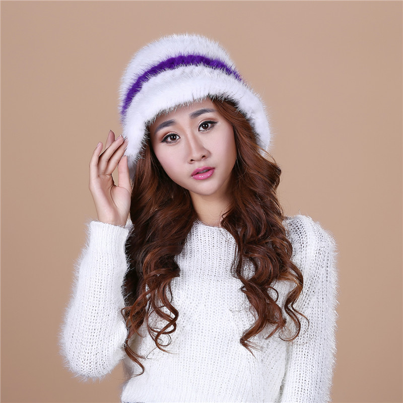 15 Colors 2016 New Style Genuine Knitted stripe Water mink hair Fur Hat Natural Rabbit Fur Caps Women Beanies Headwear#H9028