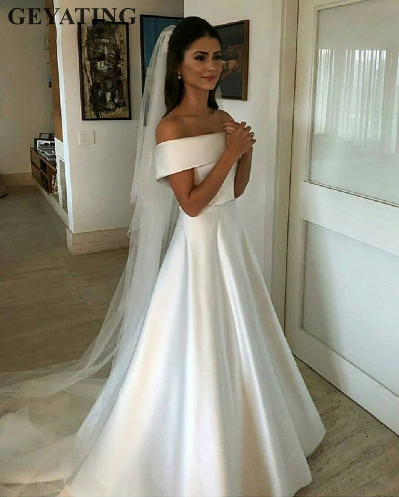 Bridal Dresses 2019: Simple Off The Shoulder White Satin Wedding Dress 2019