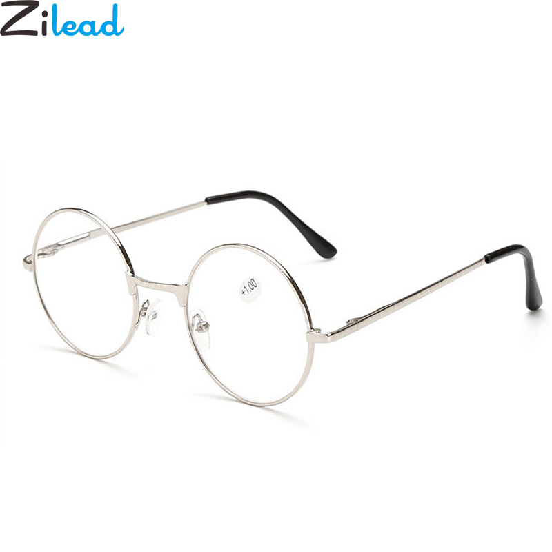 Zilead Retro Round Reading Women&Men Glasses Metal Presbyopic Glasses Myopic Lens Eyewear Glasses+1.0+1.5+2.0+2.5 +3.0 +3.5 +4.0