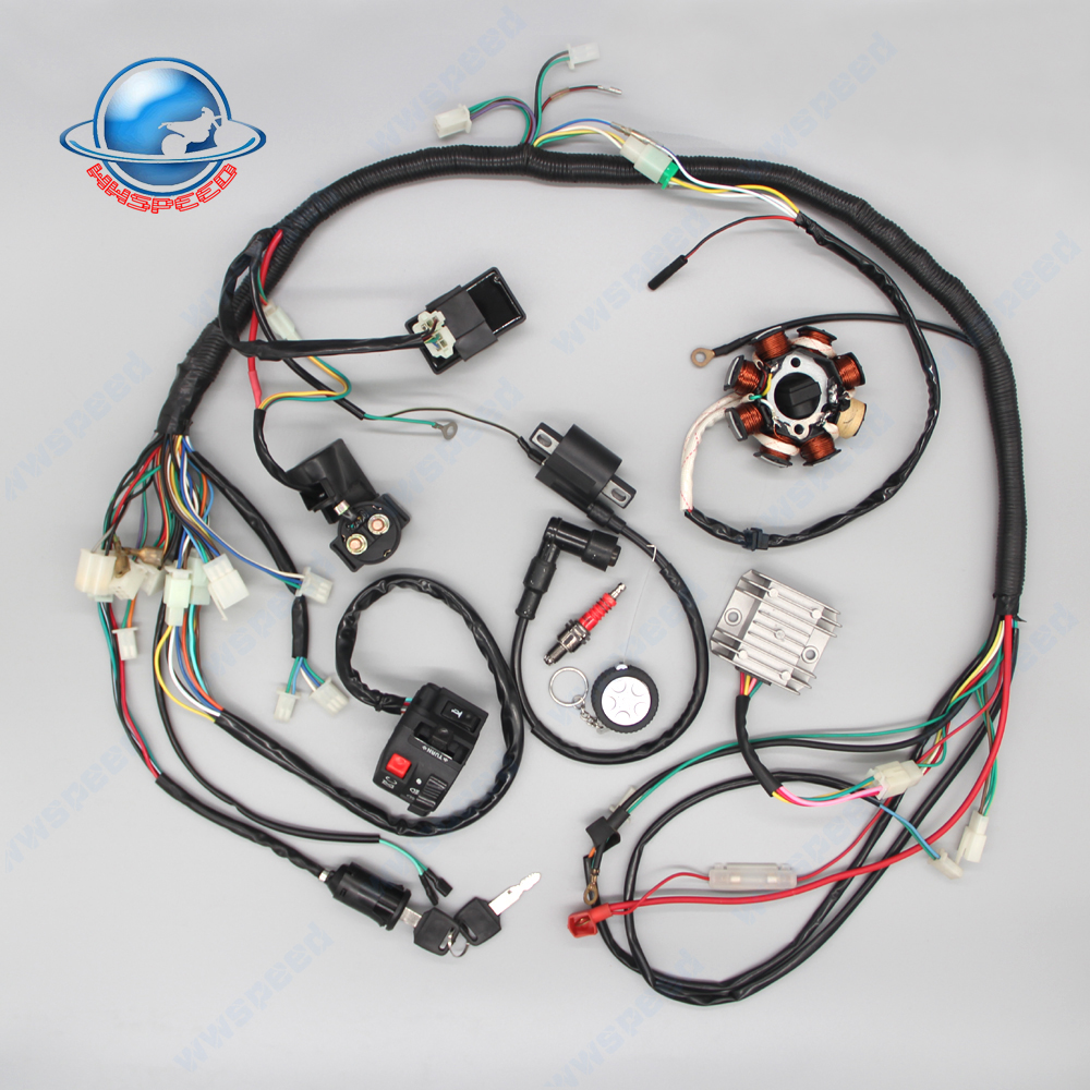 Full Wiring Harness Loom Ignition Coil Cdi For 150cc 200cc 250cc 110 Atv Kit Rectifier Key Magneto Stator Gy6 90cc 110cc 125cc