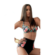 Plus Size High Waist Women Bikini Sets Retro Floral Print Swimsuit E Cup Bathing Suits Strappy Swimwear biquini brasileiro