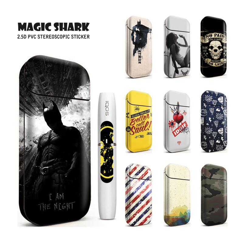 Magic Shark 100% New Fashion Batman FIFA Skull Heart Punk Sticker Case Flim Cover For IQOS 2.4 Plus 2.4P E Cigarette