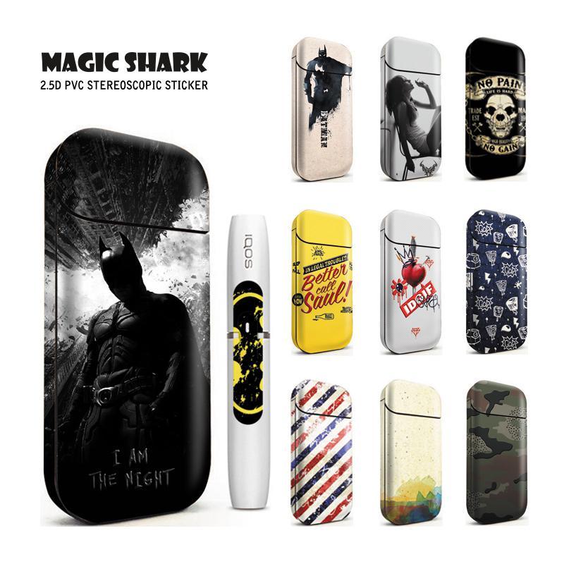 Magic Shark 100% New Fashion Batman FIFA Skull Heart Punk Sticker Case Flim Cover For IQOS 2.4 Plus 2.4P E Cigarette