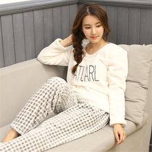 Spring Winter Casual Women Pyjama Set Cartoon Cat Print Embroidery Home Sleepwear Warm Sexy Flannel 2019