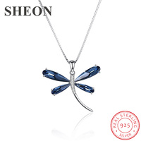 New arrival Luxury 925 Sterling Silver Box Chain Austria Crystal dragonfly Pendant Necklace fine Jewelry making for women gifts