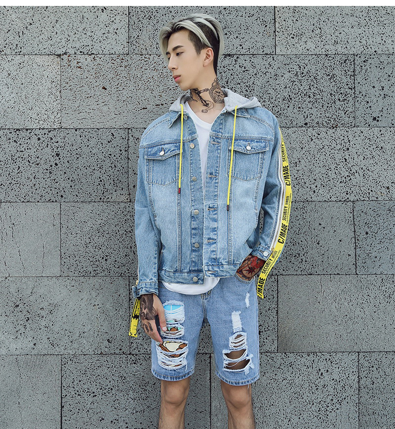 7db09f0b9a7e 2018 Men s Denim Jacket New Fashion Blue Jeans Jackets Slim fit Casual  Streetwear Vintage Mens Jean Clothing With Ribbon Zipper