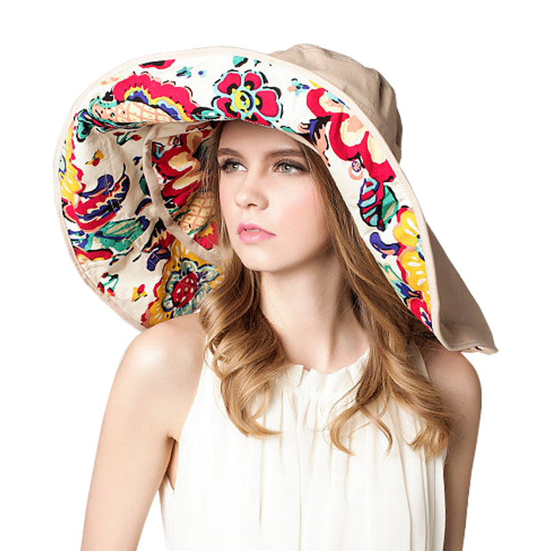 2017 New Summer Hats for Women Flora Print Visor Wide Large Brim Floppy  Foldable Swimming Outdoor UPF 50+ Beach Sun Hat Chapeau-in Sun Hats from  Apparel ... 6a4db9ea92