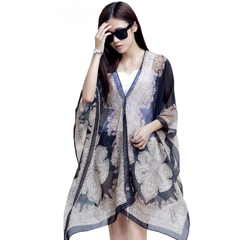 CoolCheer Ladies Blouse Wraps Print Pattern Chiffon Women's Bat Sleeve Shirt Tops Long Beach Towel Female Scarves Magica Cape