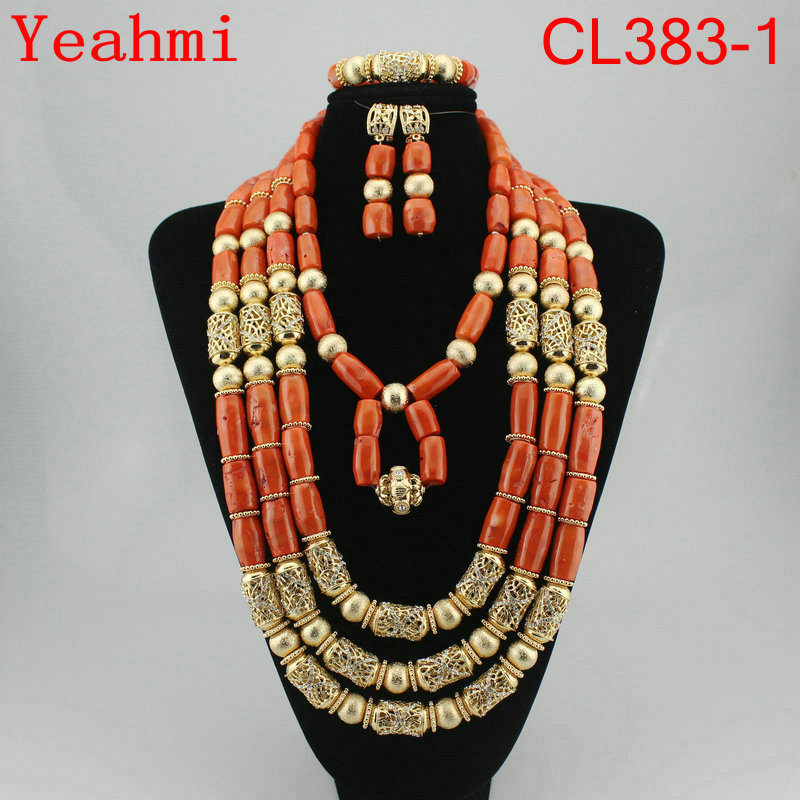 Fabulous Big Coral Beads Women Bridal Jewelry Set Nigerian Wedding Real Coral Beads Jewelry Set African Costume Jewelry CL383-1 цена