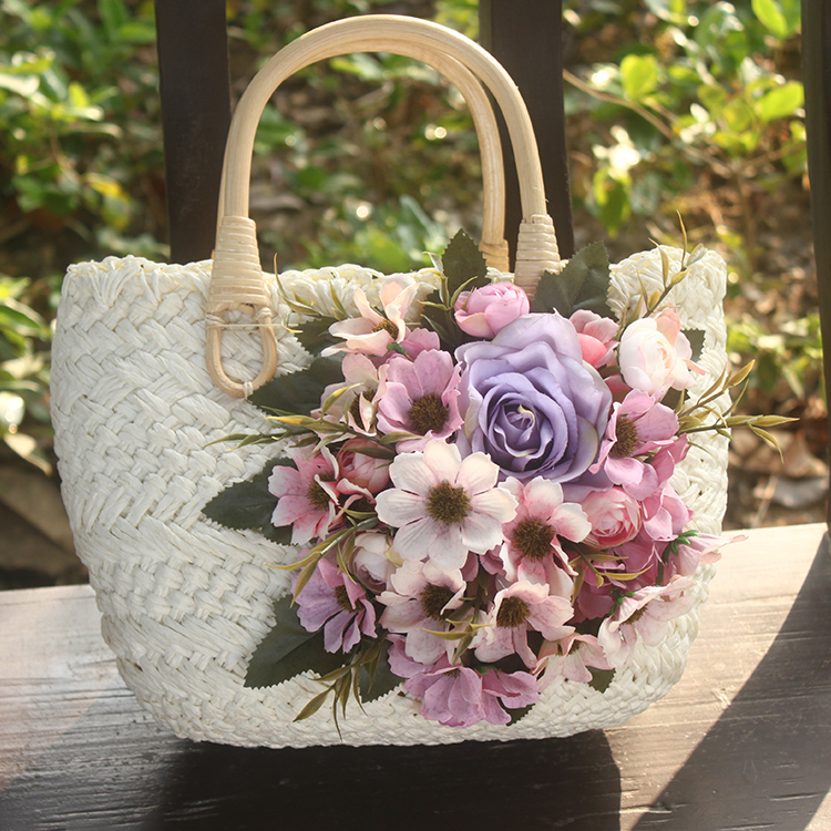Straw Bag White Women Handbag Beach Travel Bag Match Hat Flowers Ladies Bags For Tip stylish bowknot decorated wavy edge beach straw hat for women