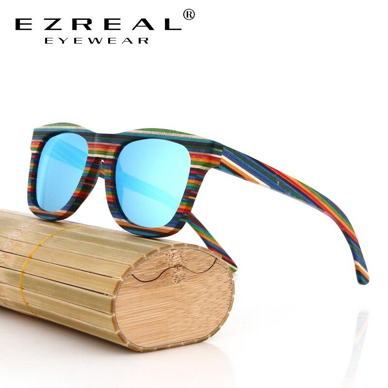 EZREAL Handmade Wooden Colorful frame Sunglasses Polarized Gafas Eyewear Eyeglasses Reflective lens Men Women Bamboo sunglasses