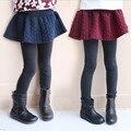 2017 Зима Весна для детей девушки поножи дети узкие брюки темно-красный мода утолщение теплая юбка леггинсы для девочки 2-8Y