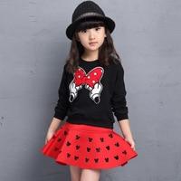 Çocuklar Kızlar Giysi 2016 Markalar Minnie Toddler Kız Giyim Setleri Okula geri Kıyafet Kızlar Etek Set Sonbahar Kış 4-12 yıl