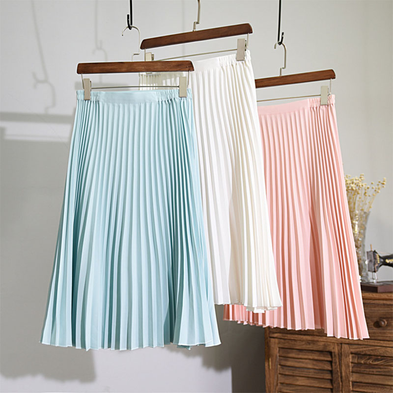 Women's Korean Style High Waist Midi Skirt 2018 Summer Casual Manual Pleated Non-fading 7 Colors Slim School Skirts Saia SK78