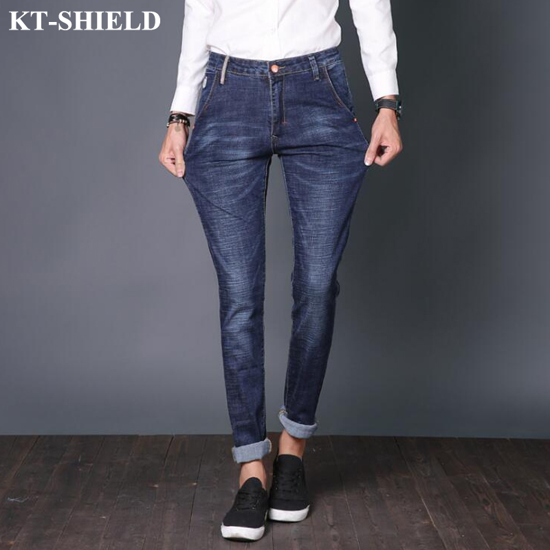 Hot Fashion Blue Jeans Men Casual Denim Pants For Man Skinny Slim Masculina Solid Straight Jeans