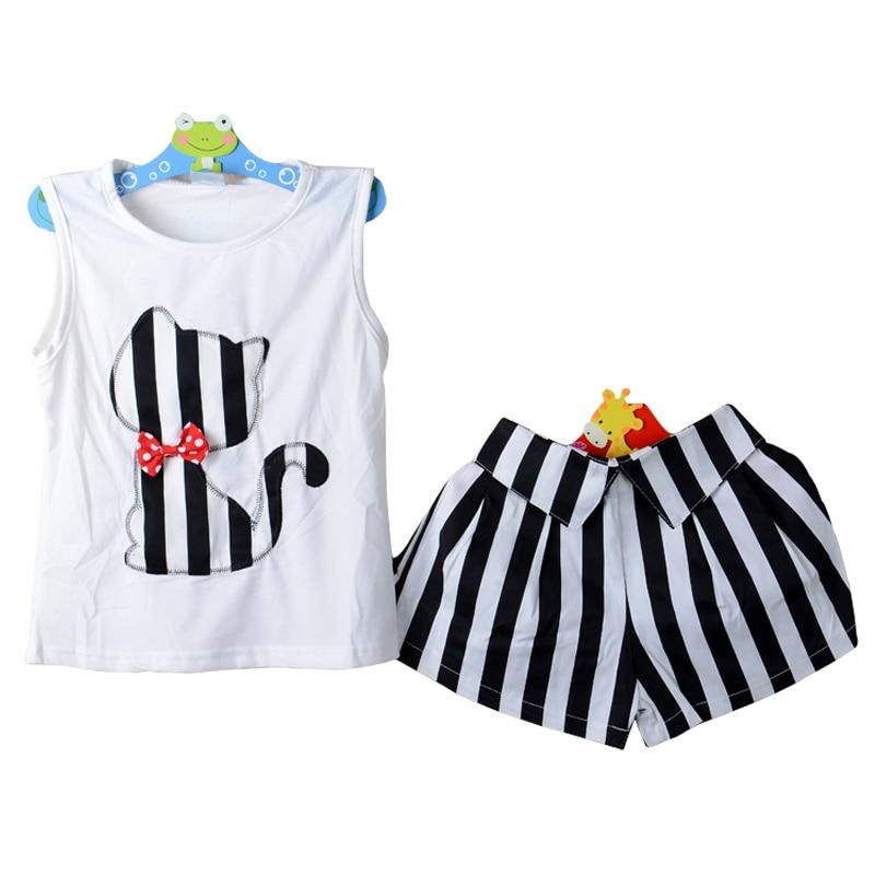 9047770474899 New Summer Princesse Sans Manches Costume Filles Modèle de Dessin Animé T- shirt + Pantalon Court Filles Occasionnels Vêtements Ensembles Filles Sport  ...