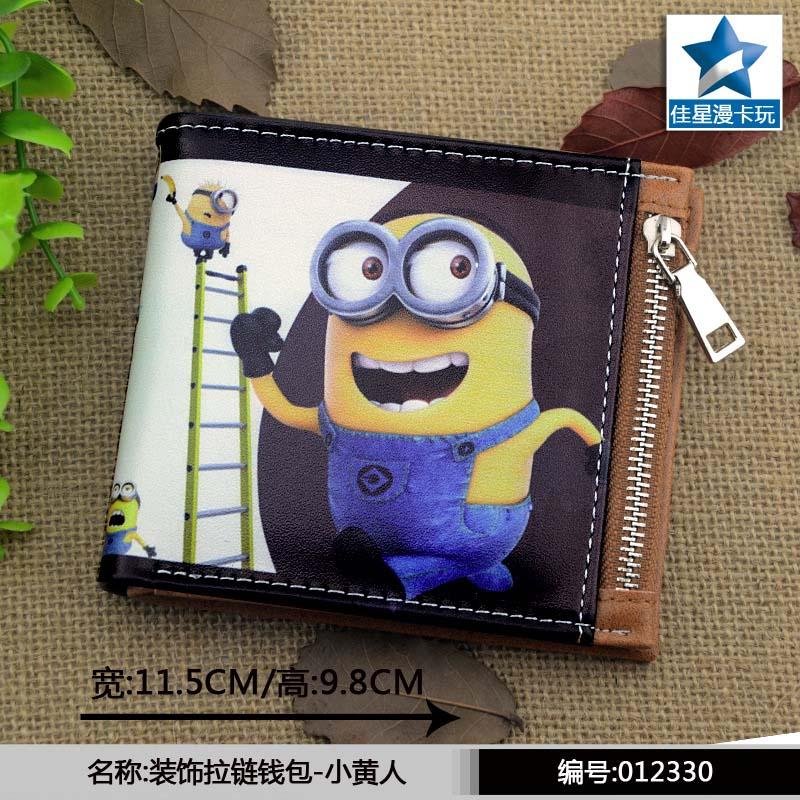 Minion Horizontal Zipper Wallet/American Movie Short Frosted Purse horizontal zipper wallet american super hero iron man short frosted purse