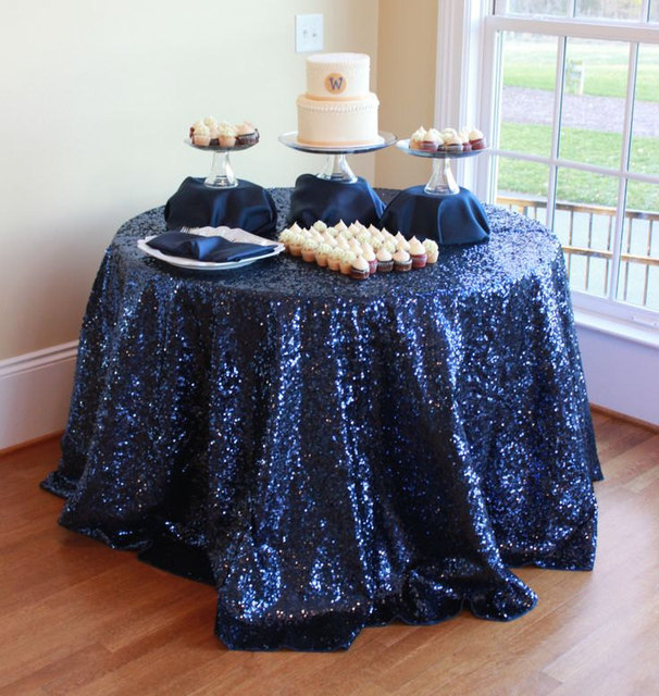 "Navy Blue And Silver Wedding Ideas: Wholesale 120"" Round (300cm) Navy Blue Sequin Tablecloths"