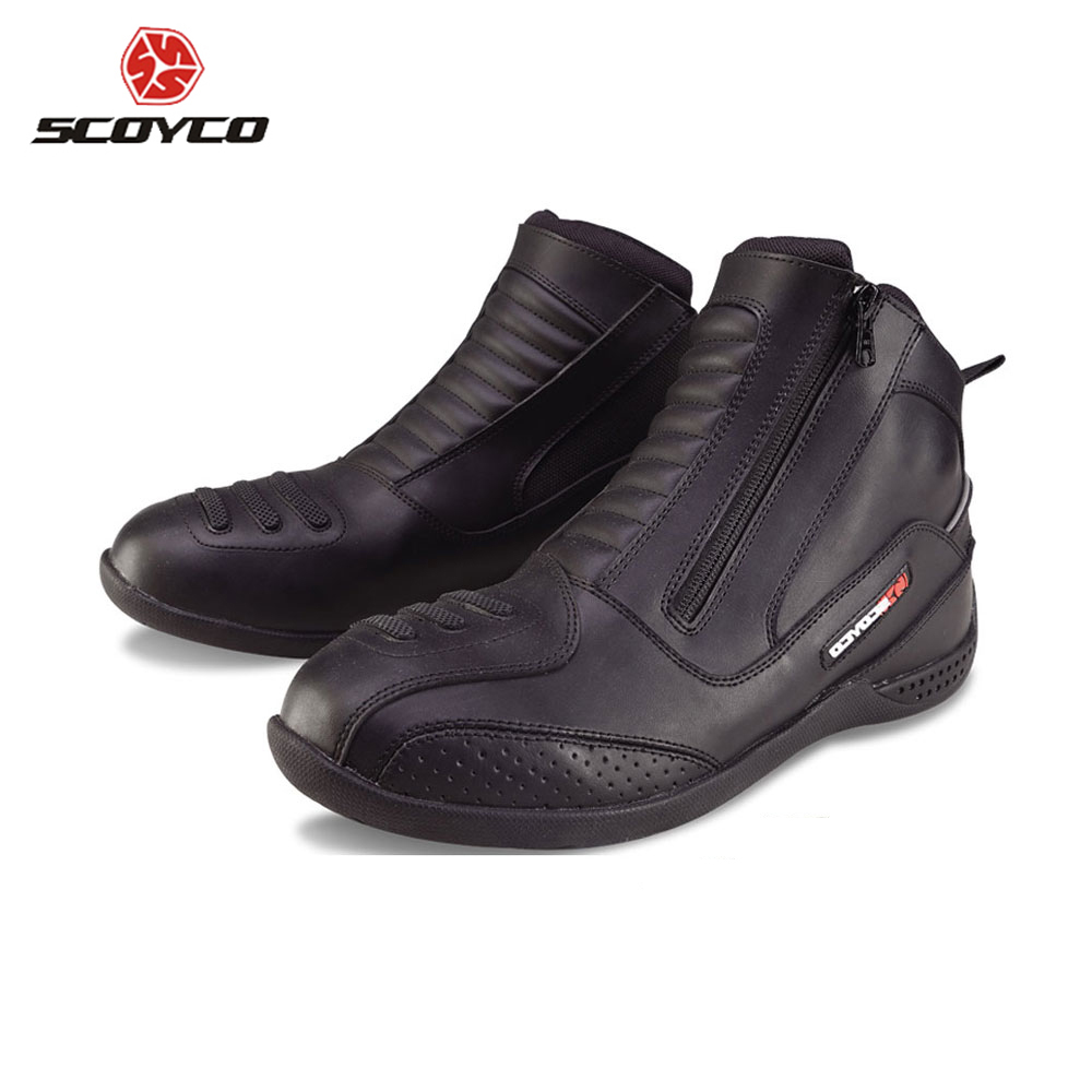 SCOYCO Motorcycle Boots Men's Moto Vintage Ankle Boots Bota Motociclista Moto Shoes Motocross Boots Chaussure Moto MBT002 scoyco mbt002 motorcycle bicycle men s leather short boots black size 44