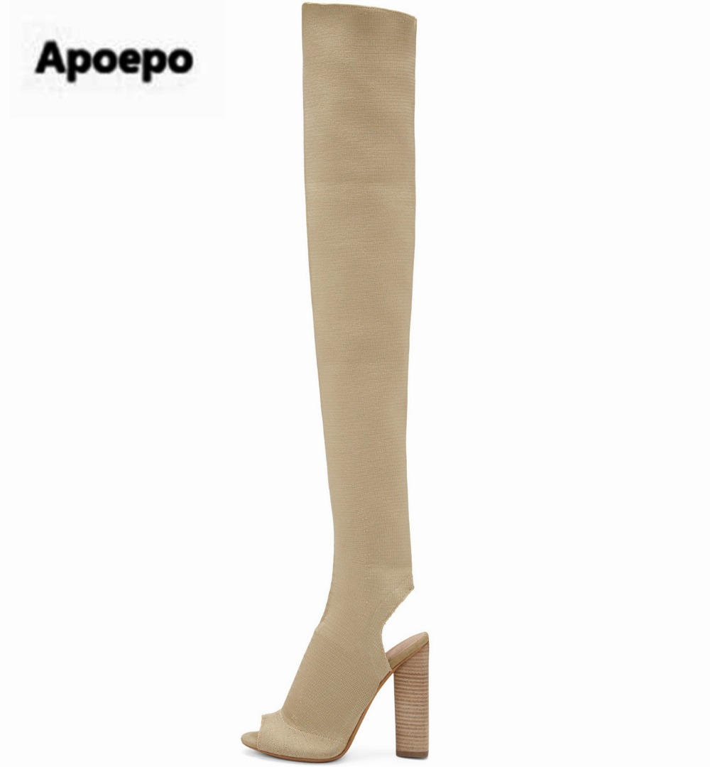Apoepo Sexy Peep toe Long Slim Leg Thigh Boots Knitted Stretch Fabric Square High Heel Women Over Knee Slingback Socks Botas