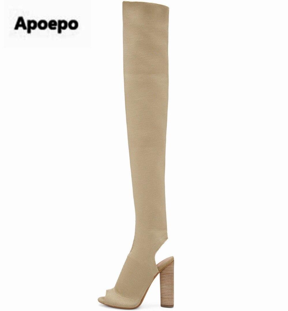 أحدث مثير اللمحة تو طويل نحيف الساق الفخذ الأحذية محبوك تمتد نسيج مربع عالية الكعب النساء فوق الركبة slingback في الجوارب بوتاس