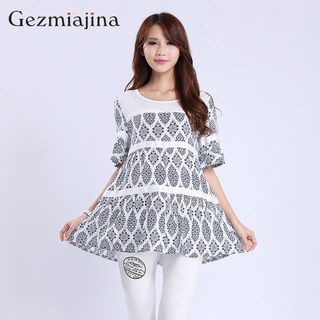 8305be565975 Summer maternity dress New fashion print T-shirt Floral short sleeve tops  Cotton chiffon shirt Tees Loose large size
