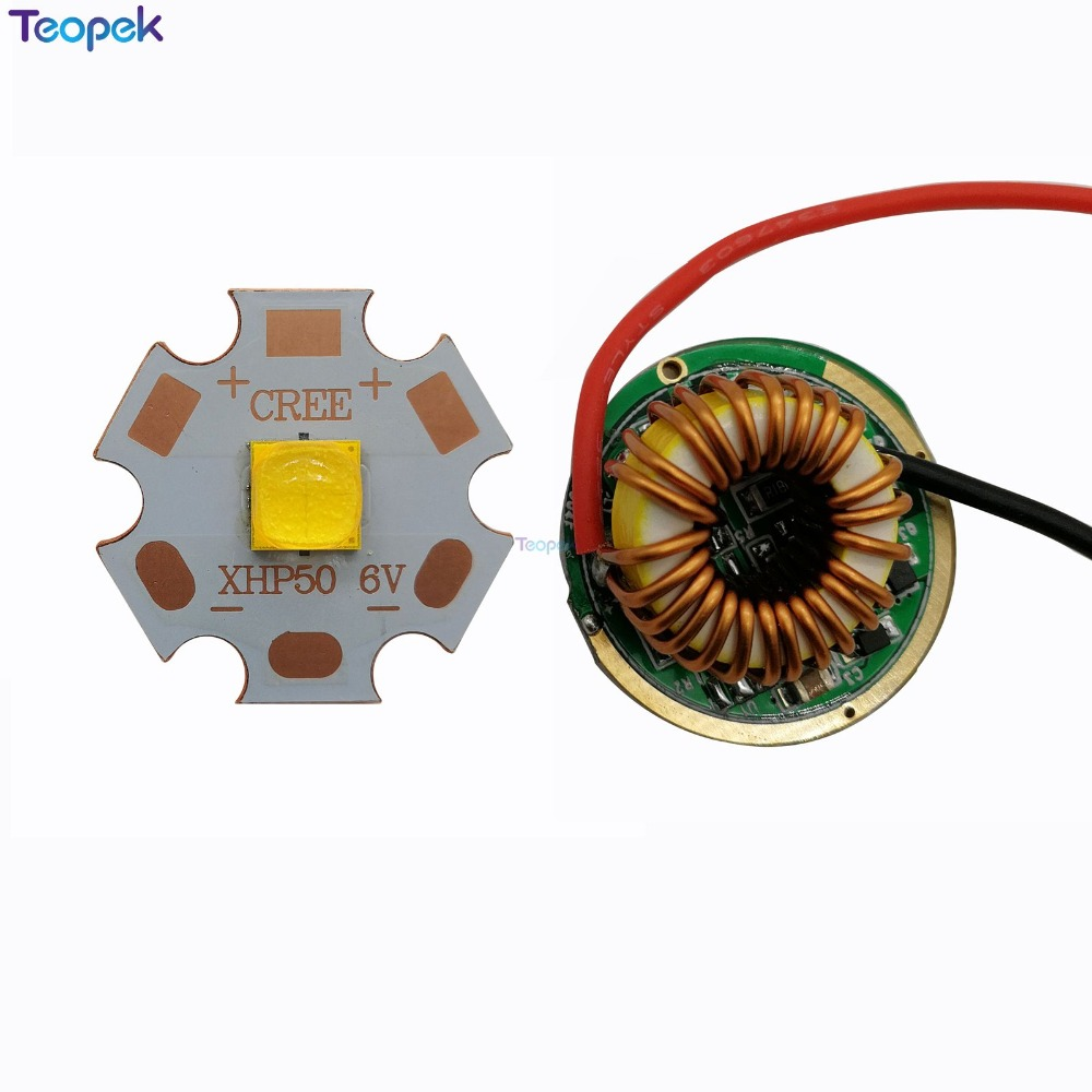 XHP50.2 Cold White Neutral White Warm White High Power LED Emitter 16mm 20mm Copper PCB +22mm 1 Mode / 3 Modes / 5 Modes Driver vg15 sf31 driver 5 modes circuit board anti reverse led driver chip mode memory function