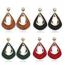 Natural Wood Hollow Water Drop Dangle Statement Earrings Women Fashion Jewelry